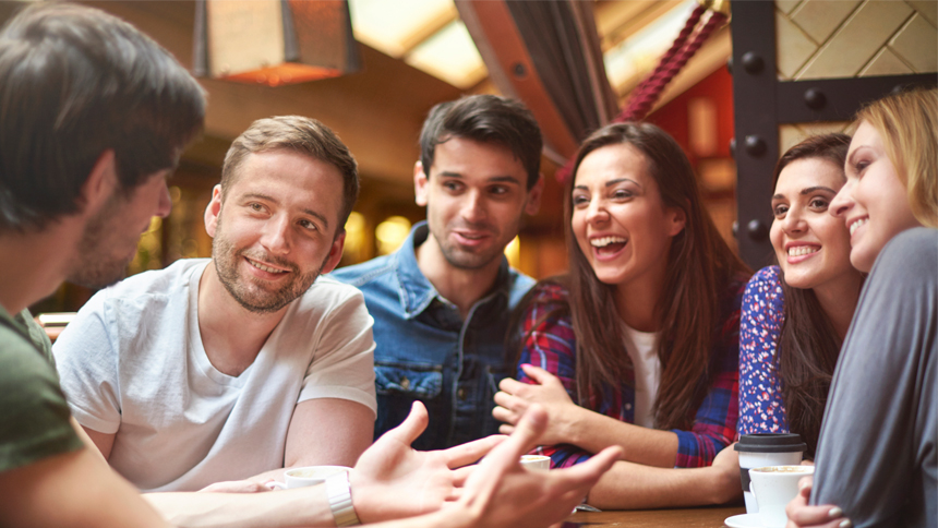 crowd of millennials networking