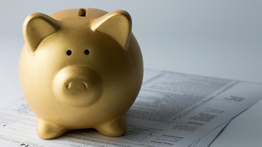 piggy bank on tax season forms