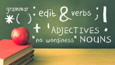Chalkboard with Grammar Info