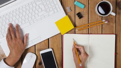 Woman copywriting for websites