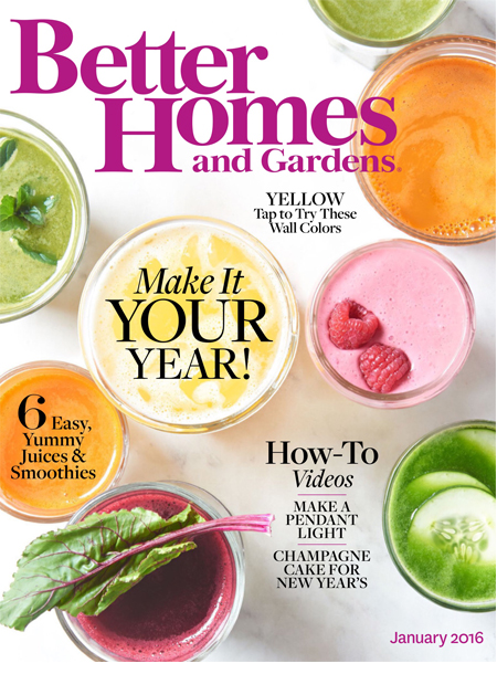 Better Homes and Gardens masthead, January 2016