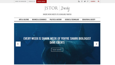 homepage of JSTOR daily