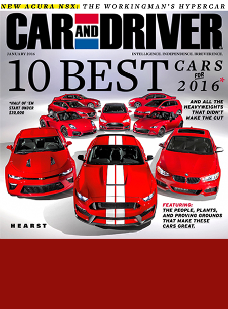 Car and Driver masthead, January 2016