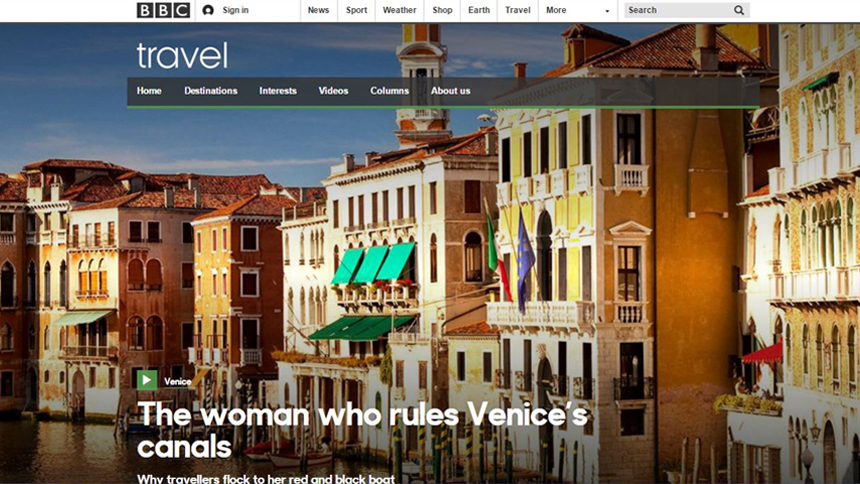home page of BBC travel
