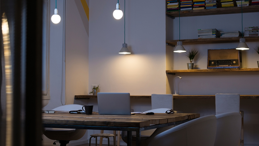 an office at night, where creatives work