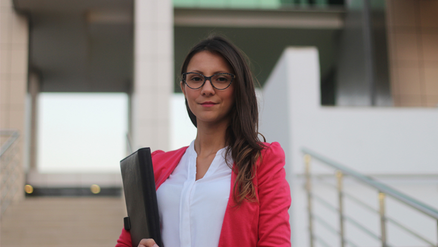 confident woman after interview