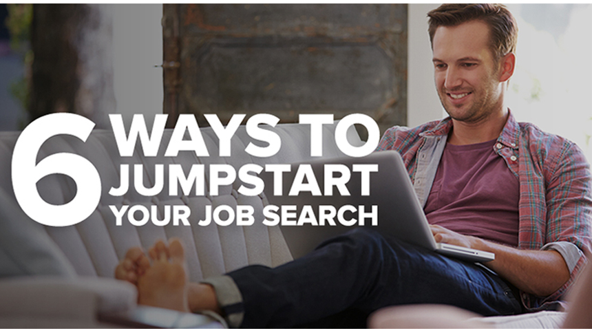 job seeker sitting on couch searching for jobs