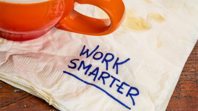 napkin with writing on it that reads work smarter