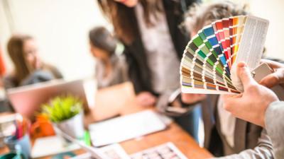 creative team, graphic designer review Pantone colors