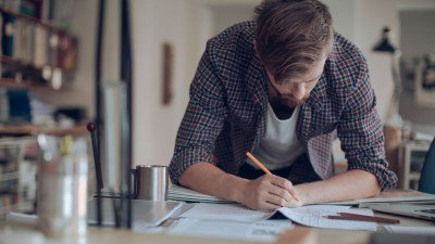 UX designer working at desk