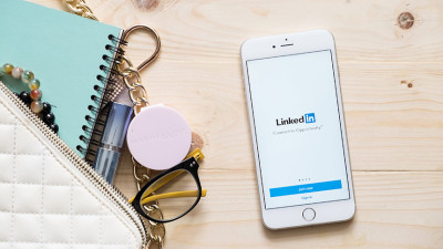 iPhone with LinkedIn open
