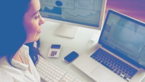 woman laptop powerpoint