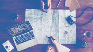 laptop map table how to pitch travel
