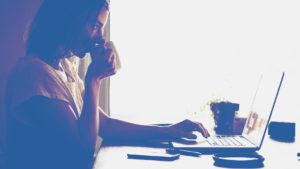woman laptop coffee